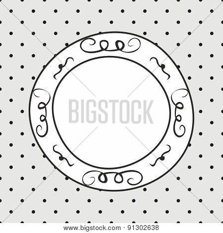 Hand drawn vector frame on polka dots grey background