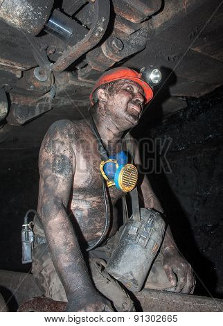 Novogrodovka, Ukraine - January, 18, 2013: Miner In The Workplace In The Mine