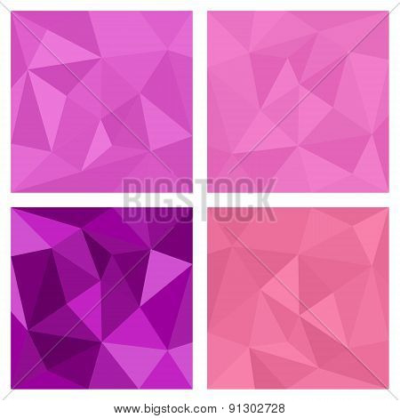 Pink and violet triangle vector background or chevron surface pattern set