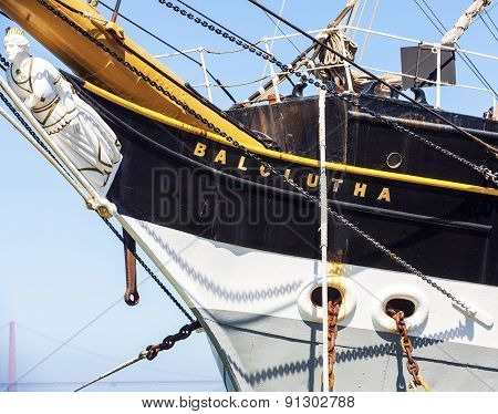 Vintage 1886 sailing ship Balclutha on public display at San Francisco Maritime