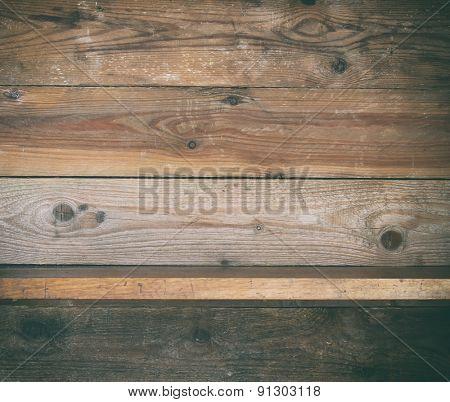 grunge wooden shelf.