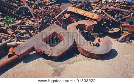 Rusty Scrap Metal In The Yard