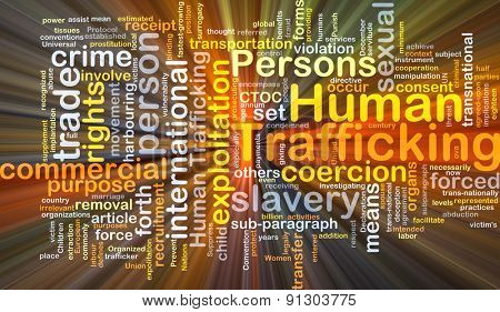 Background concept wordcloud illustration of human trafficking glowing light