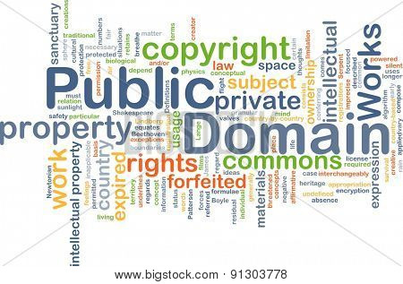 Background concept wordcloud illustration of public domain