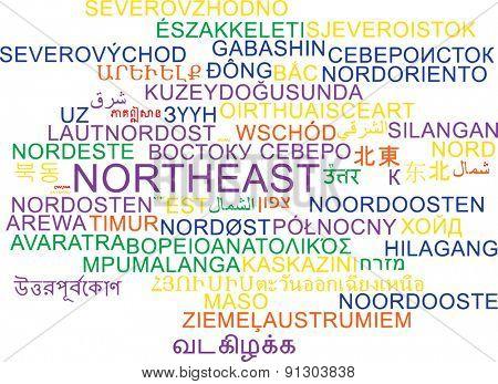 Background concept wordcloud multilanguage international many language illustration of northeast