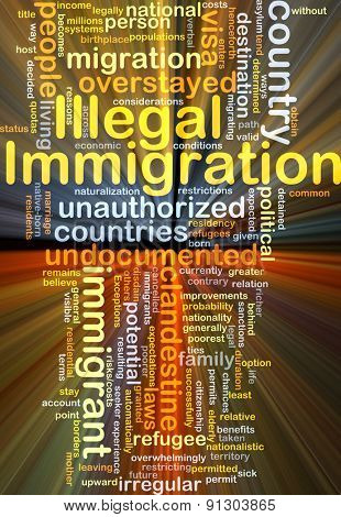 Background concept wordcloud illustration of illegal immigration glowing light