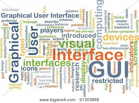 Background concept wordcloud illustration of graphical user interface GUI