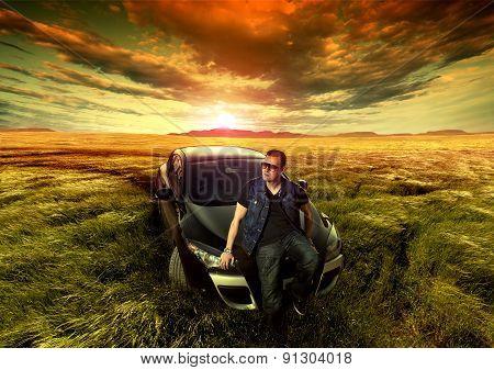 Fashion man and car