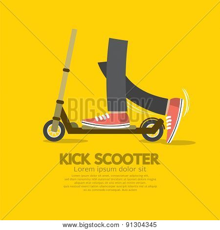 Flat Design Kick Scooter.