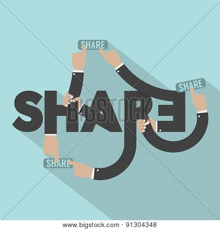 Hands With Share Typography Design.