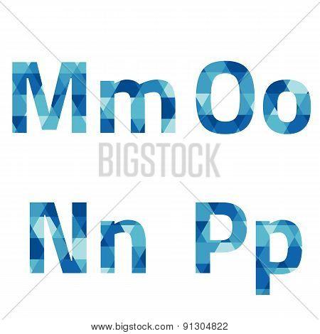 Modern Style Blue Alphabets Set.