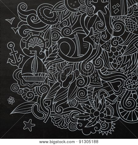 Doodles abstract decorative summer vector background