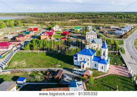 Aerial view on Sacred and Ilyinsky temple. Kilki