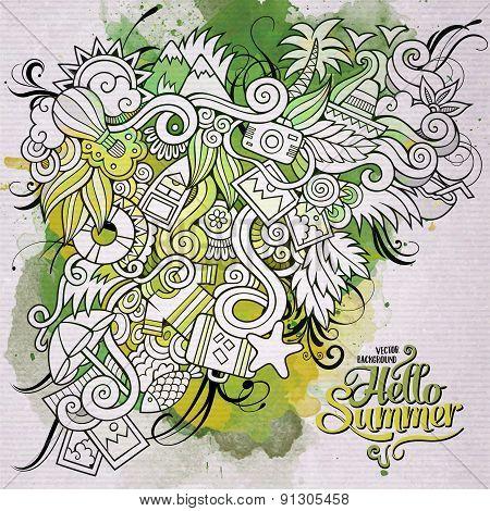 Summer doodles elements watercolor art background