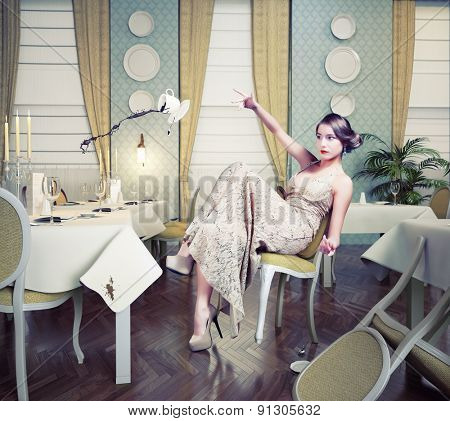 Angry woman throwing a cup of coffee in a restaurant. Photo combination concept