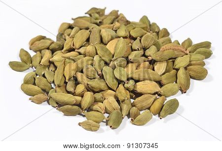 Heap Of Cardamom Seeds On A White