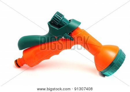 Bright Nozzle On A Hose For Watering