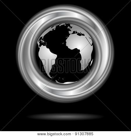 Abstract silver ring and globe