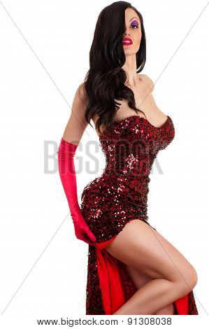 beautiful passionate woman in a red dress