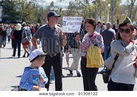 Sevastopol / Crimea - May 9, 2015: A Lot Of People Watching The Parade In Honor Of The 70Th Annivers