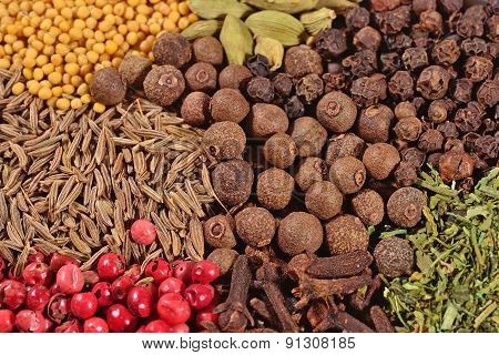 Heap Of Different Dry Spices