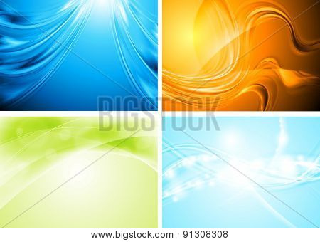 Set of abstract colorful waves. Raster art design background