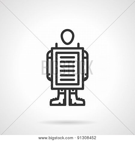 Walking advertisement black line vector icon