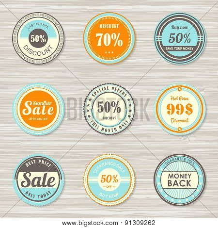 Vintage labels set: money back, sale, best, discount, hot price.
