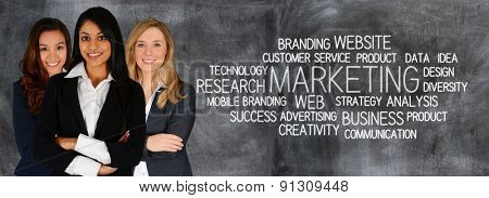 Women who are doing marketing work for a business
