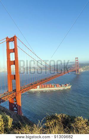 Cargo Ship Wallenius Wilhelmsen Passes The Golden Gate Bridge