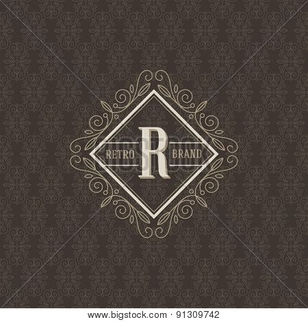 Monogram logo template with flourishes calligraphic elegant ornament elements. Identity design for boutique, cafe, hotel, heraldic, store, shop, restaurant, fashion and etc.