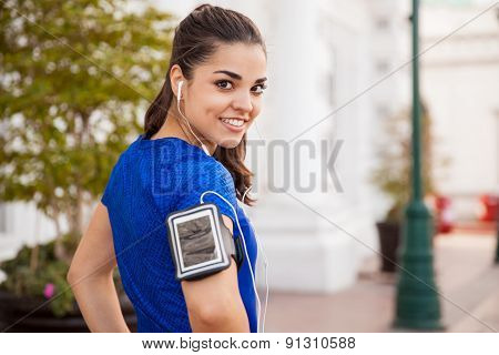 Girl Exercising With Music