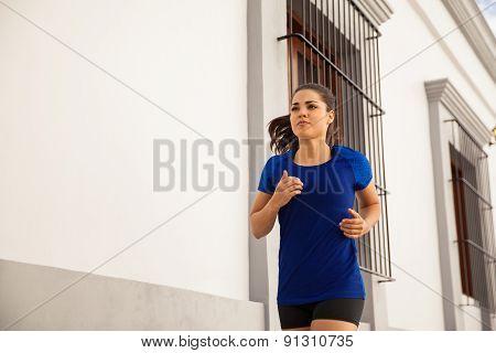 Pretty Girl Running Outdoors