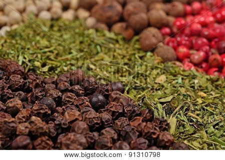 Heap Of Various Kinds Of Dry Spices