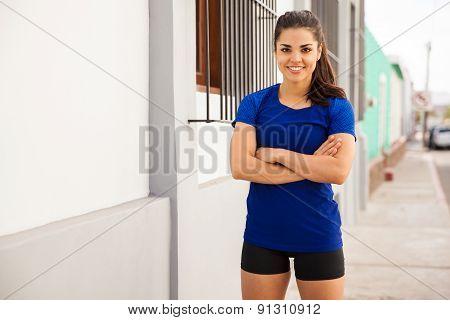 Cute Hispanic Runner Outdoors