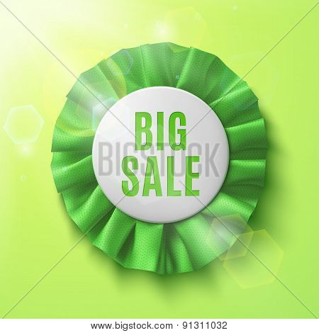 Big sale, realistic green fabric award ribbon.
