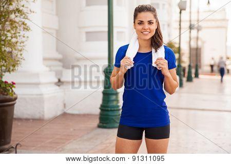 Happy Runner Taking A Break