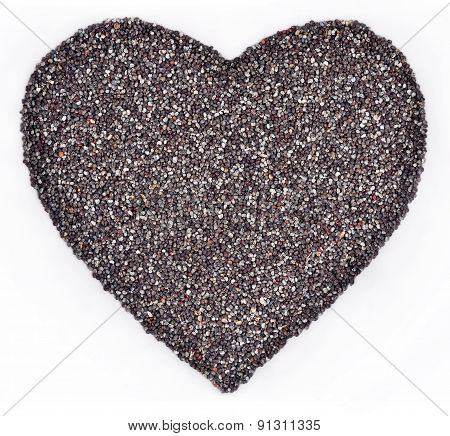 Poppy Seeds In The Form Of Heart On A White