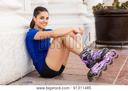 Happy Skater Sitting Down