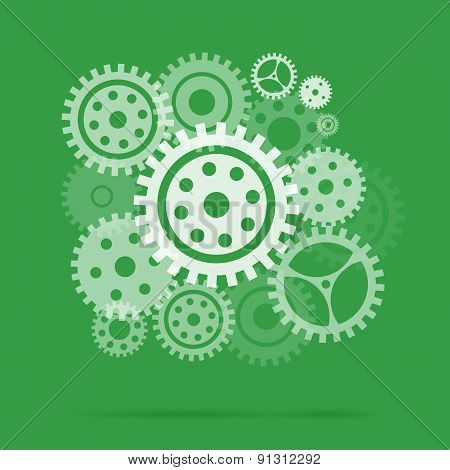 Mechanism With Gears And Cogs Working Together, Idea Concept.