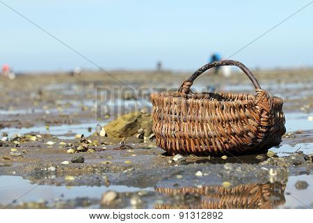Wicker basket on
