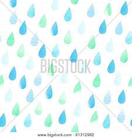 Rain Seamless Aquarelle Pattern