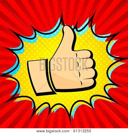 Thumb up icon and red background of radial lines. Pop art, comic
