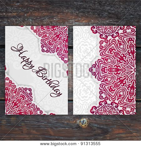 Lacy Vector Birthday Card Template. Romantic Vintage Wedding Invitation. Abstract Circle Floral Orna