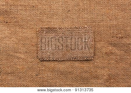 Frame Made Of Burlap  Lies On A Sacking  Background