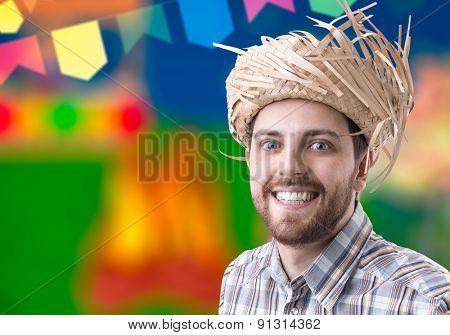 Man wearing caipira clothes for the Brazilian Junina Party (Festa Junina)