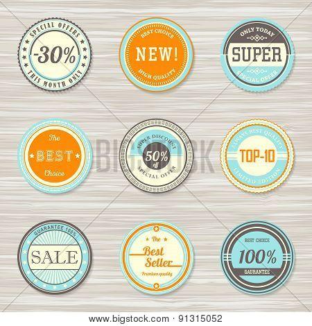 Vintage labels template set: new, super, best choice, sale