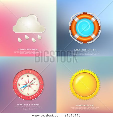 Lifeline, sun, clouds and rain, compass. Summer icons