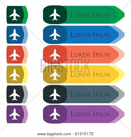 Airplane, Plane, Travel, Flight  Icon Sign. Set Of Colorful, Bright Long Buttons With Additional Sma