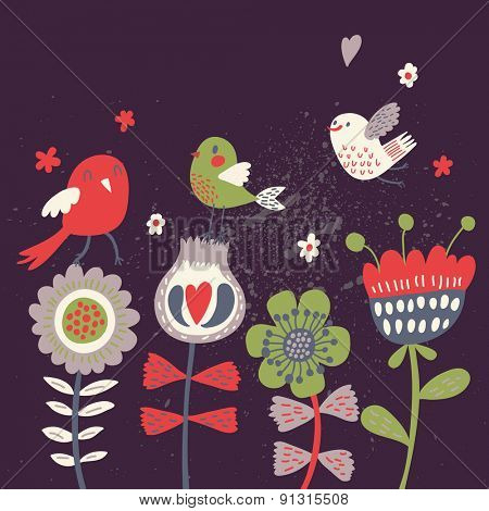 Bright cartoon birds on flowers at night in vector. Stylish floral card. Summer background in bright colors